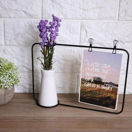 LAFGUR Ceramic Flower Plant Pot Vase Postcard Photo Holder Display Iron Frame Bracket with Clip, Iron Postcard Vase Frame, Iron Vase Photo Display ()
