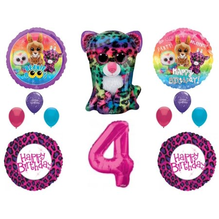 Beanie Boos 4th Birthday Party Balloons Decoration TY Cheetah Animals - Party Ty