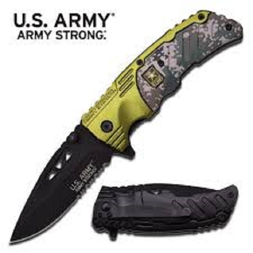 US Army Knives Officially Licensed Army Strong Assisted Folding Knife A-A1023CGN Multi-Colored
