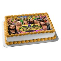 WWE Wrestle Mania Main Event Matches Edible Cake Topper Image  1/4 sheet