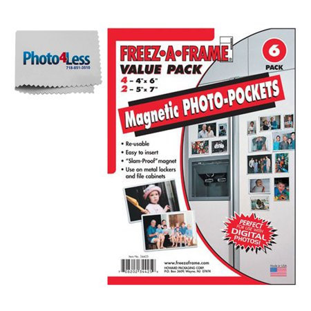 Exclusive Package! Combo Pack of Freez-A-Frame Magnetic Photo Frames (4) 4 x 6 & (2) 5 x 7 + Photo4less Cleaning Cloth!](Magnetic Photo Frame)