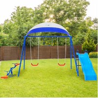 FITNESS REALITY KIDS 6 Station Swing Set with Seesaw and Canopy Metal Swing Set