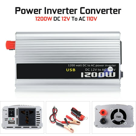 Ac Auto Car Power Inverter (DC 12v To AC 110v 1200W Car Auto Truck Power Inverter Converter Sine Wave )