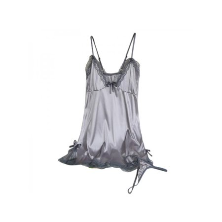 ade8e76eaf VICOODA Sexy Lace Satin Chemise Nightwear Full Slip Silk Sleepwear Robe  Dress with G-string Babydol Silky Nightie Nightdress for Women - Walmart.com