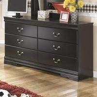 Ashley Furniture Huey Vineyards 6 Drawer Wood Double Dresser in Black