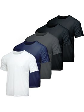 5 Pack: Youth Dry-Fit Moisture Wicking Active Athletic Performance Short-Sleeve T-Shirt