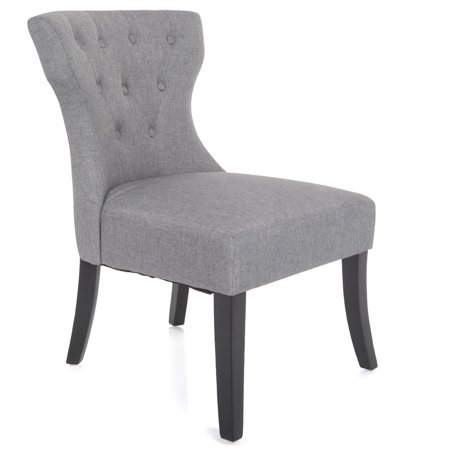 gymax dining chair linen fabric tufted back armless upholstered living room furniture. Black Bedroom Furniture Sets. Home Design Ideas