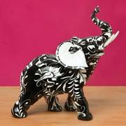 Fashioncraft Black and White Elephant Flourish Accent Piece