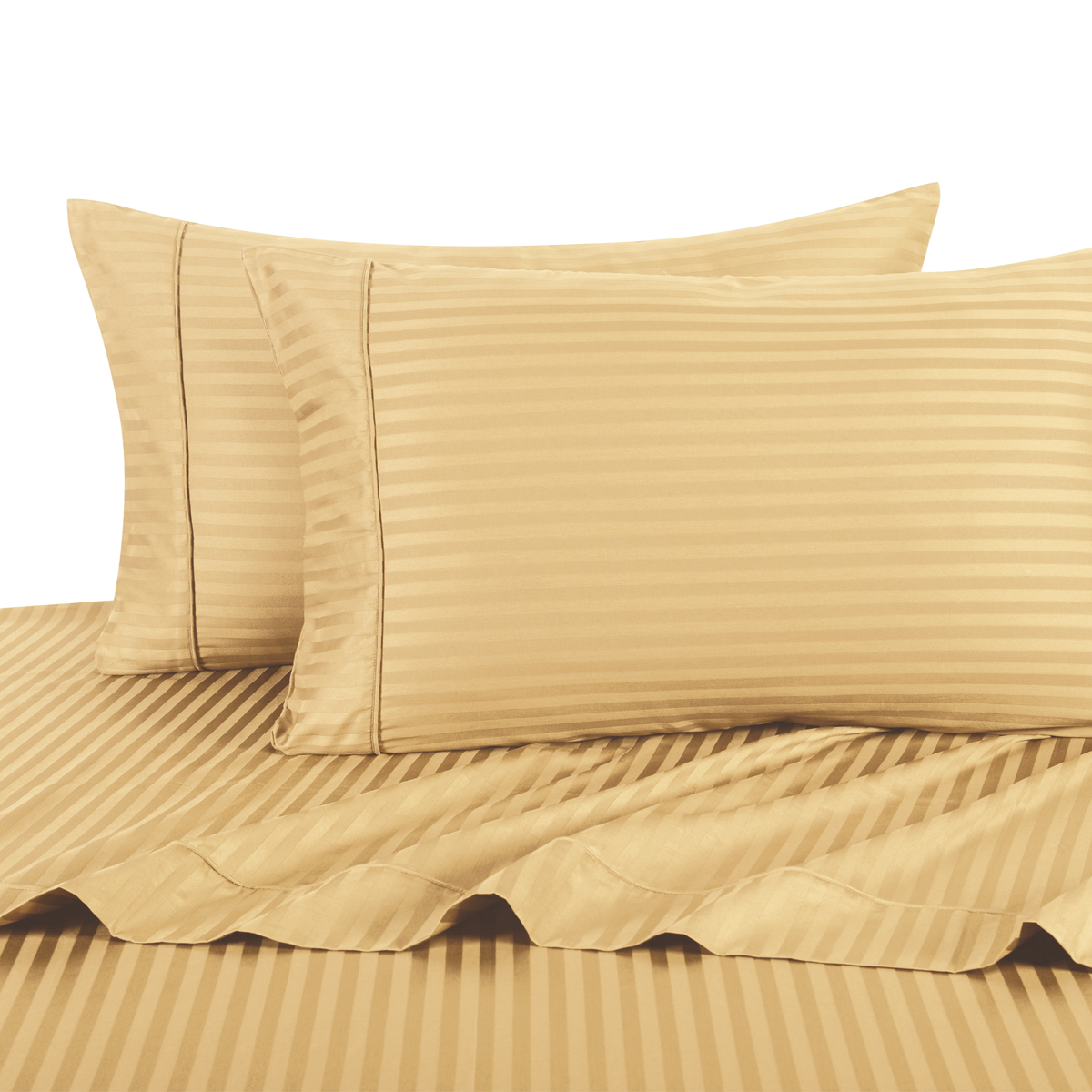 100% Cotton Sateen Sheets 600 Thread Count Sateen Damask Stripe Collection Comfortable Durable Absorbent and Breathable