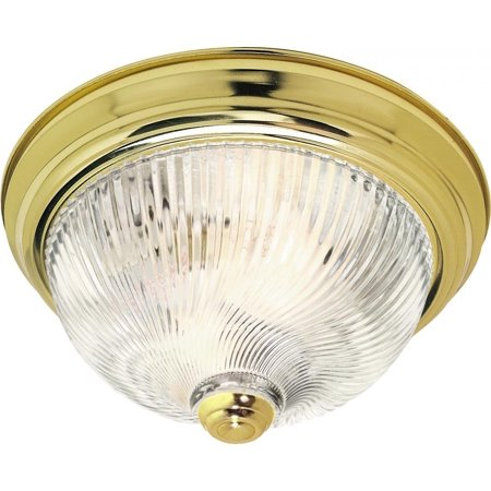 SF76/026 15-Inch Polished Brass Flush Dome with Clear Ribbed Swirl Glass By Nuvo Ship from US