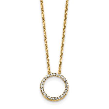 14k Yellow Gold True Origin Lab Grown Diamond VS1/VS2, D E, Circle Pendant with Chain