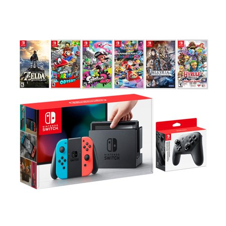 Nintendo Switch Neon Red/Blue Joy-Con Console Set, Pro Controller, The Legend of Zelda: Breath of the Wild, Super Mario Odyssey, Splatoon 2, Mario Kart 8 Deluxe, Valkyria Chronicles 4, Hyrule