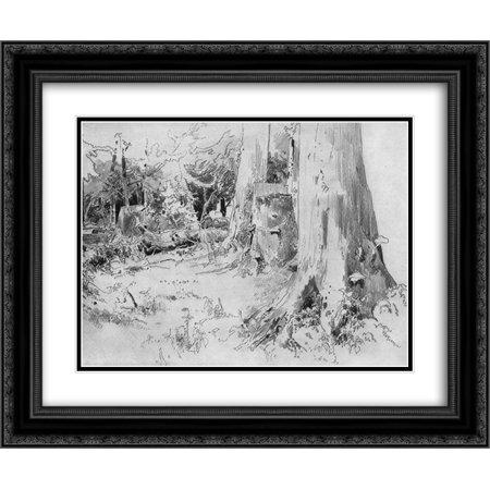 Ivan Shishkin 2x Matted 24x20 Black Ornate Framed Art Print 'Carved wood' Ornate Wood Carved Top