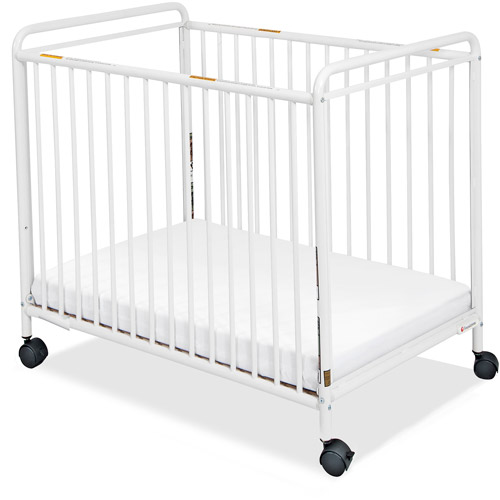 Foundations Chelsea Compact Steel Non-Folding Clearview Fixed-Side Crib, White
