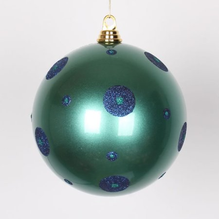 Candy Teal Green with Sea Blue Glitter Polka Dots Commercial Size Christmas Ball Ornament 8