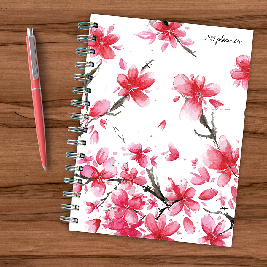 """2019 Floral Cherry Blossoms 6.25"""" x 8"""" January 2019-December 2019 Medium Weekly Monthly Planner by TF Publishing"""