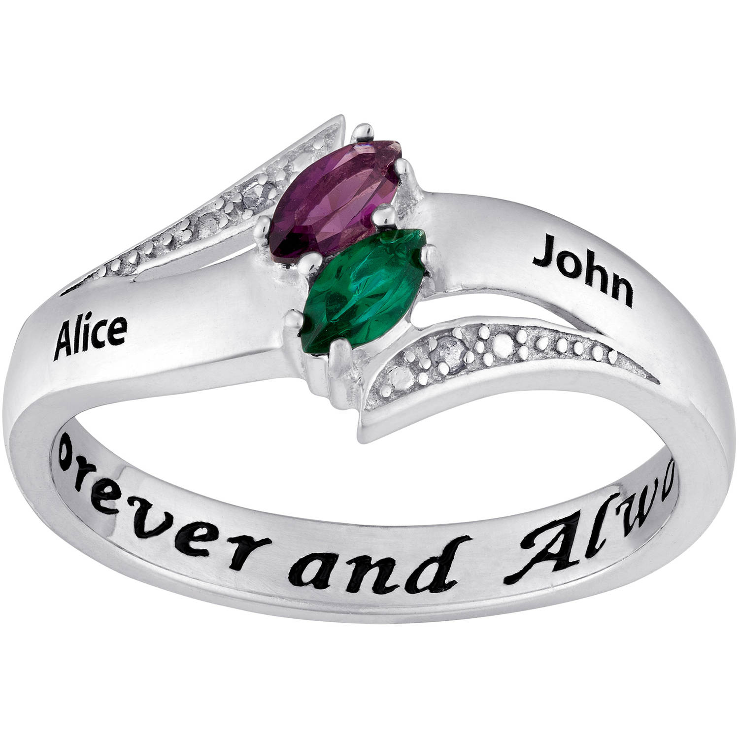 Couple's Personalized Promise Ring in Sterling Silver with Diamond Accents