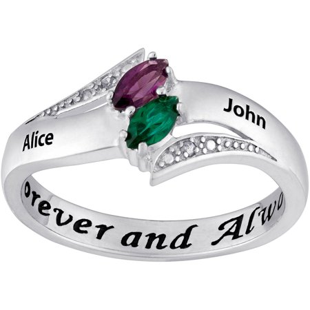 Couples Personalized Promise Ring In Sterling Silver With