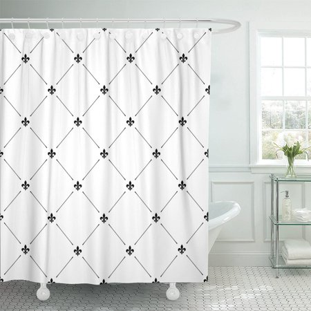PKNMT Pattern Fleur De Lis Luxury Graphic Elite Vintage White Polyester Shower Curtain 60x72 inches