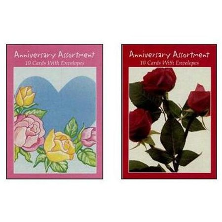 Boxed Greeting Cards - Anniversary Asst, 10 Ct -1 Box