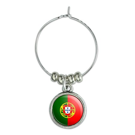 Portugal National Country Flag Wine Glass Charm Drink