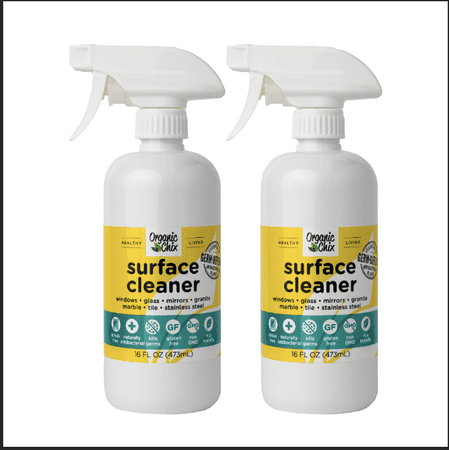 Organic Chix Natural Antibacterial All Purpose Surface Cleaner - Streak Free Multi-Surface Cleaning Spray - (16oz Spray Bottle 2 Pack)