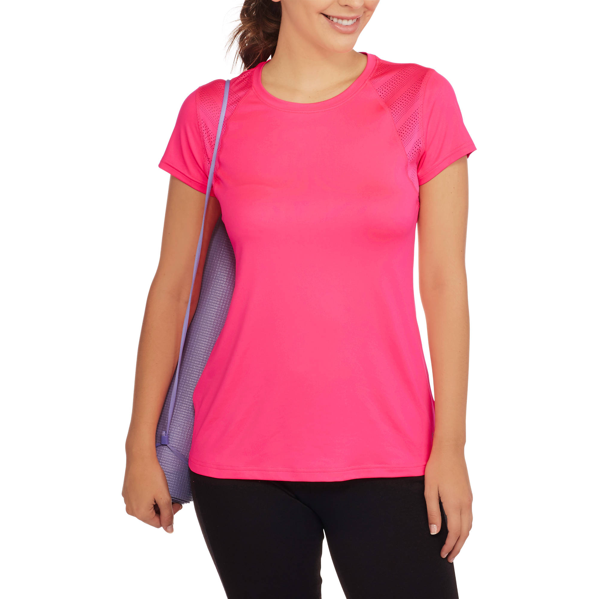 Danskin Now Women's Fitted Performance Tee with Sporty Mesh Insets