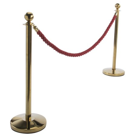 Set of 2 Crowd Control Stanchion Posts, 1 Red 6.5-Foot Twisted Nylon Rope, 4-Way Adapter (Polished Brass) (TWST4BRED)