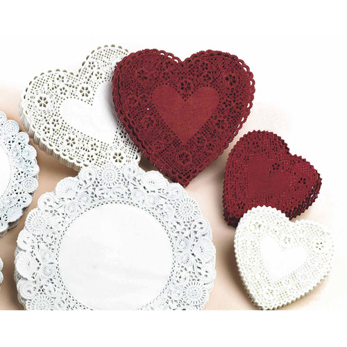 "Heart-Shaped Paper Lace Doilies, 4"", Pack of 100, White"
