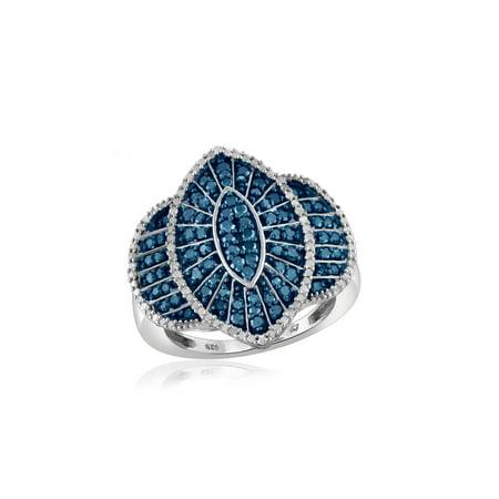 JewelersClub 1.00 Carat T.G.W Round Cut Blue & White Diamond Marquise Shape Sterling Silver Ring (Fancy Marquise Cut Diamond)