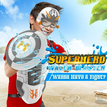 Backpack Water Gun (WisToyz Water Gun Squirt Gun Superhero Backpack, Water Blaster Toy Water Guns for Kids, Toddlers, Boys and Girls, Squirt Toys with Large Capacity Long Range, Best Summer Toys Beach Toys)