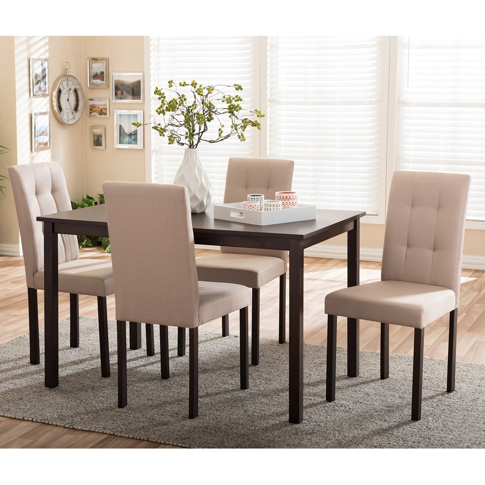 Baxton Studio Andrew Contemporary 5 Piece Upholstered Dining Set Multiple Colors Walmart Com Walmart Com