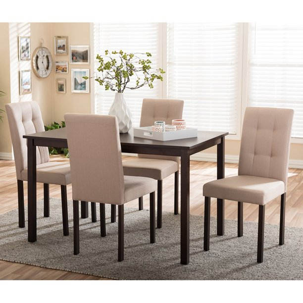 Baxton Studio Andrew Contemporary 5-Piece Upholstered Dining Set, Multiple Colors