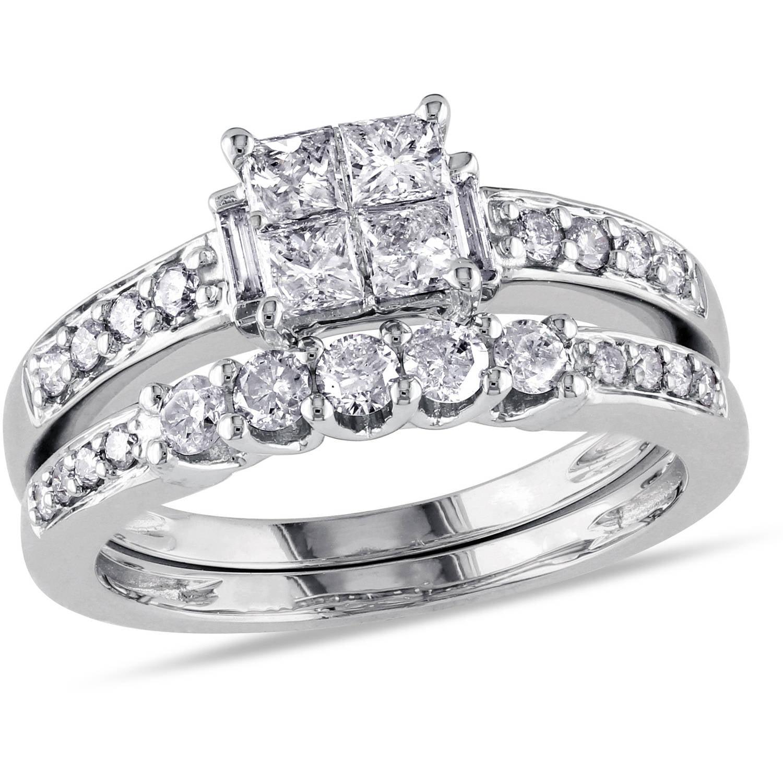 Miabella 1 Carat T.W. Princess, Baguette and Round-Cut Diamond 14kt White Gold Bridal Set by Delmar Manufacturing LLC