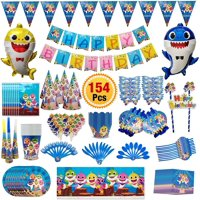Baby Shark Party Supplies | Shark Themed Birthday Decorations| Includes Disposable Tableware Kit, Hats, Gift Bag and Banner, Blowouts, Balloon, Cake Toppers & Pennant for Baby Shark Party [154 Pc]