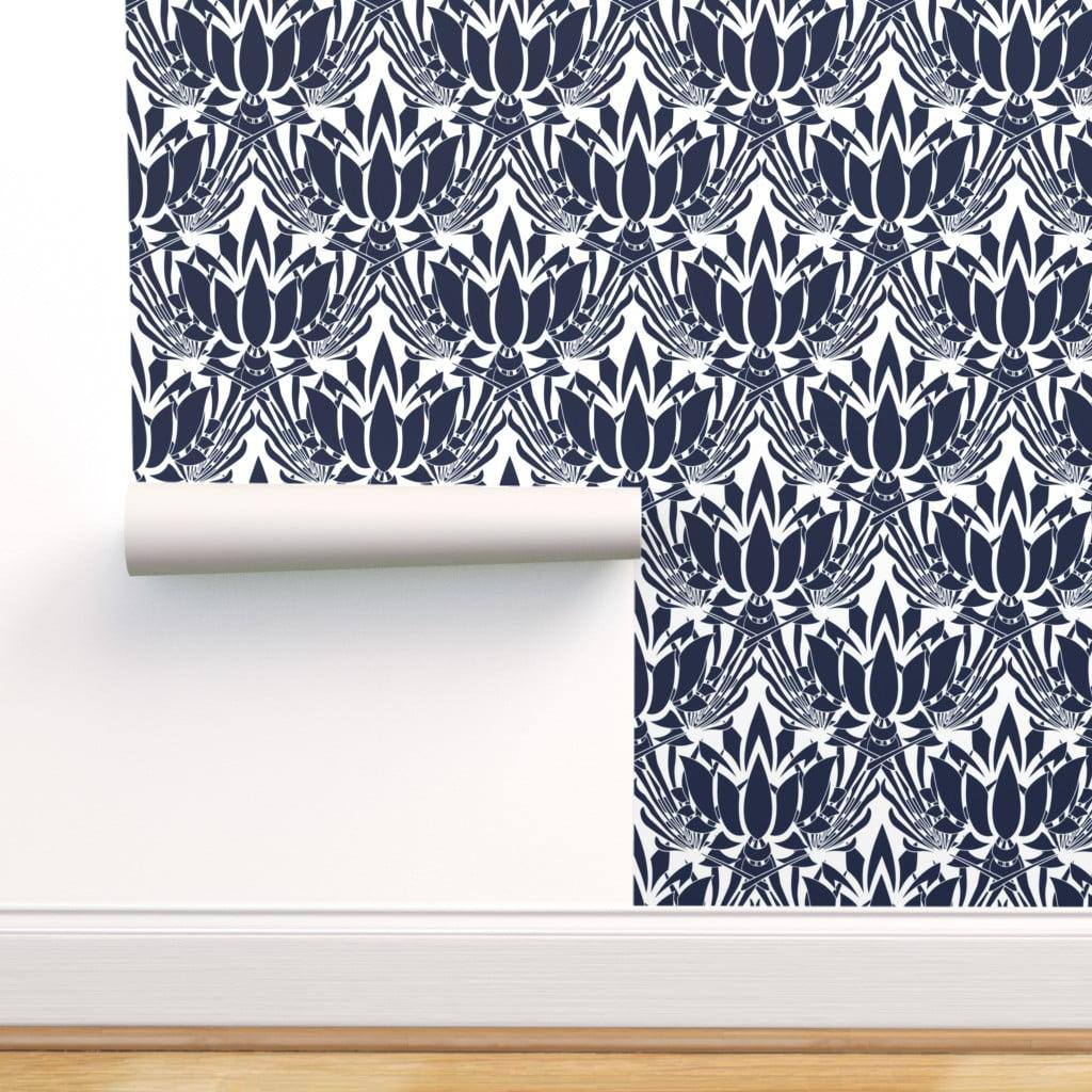 Peel And Stick Removable Wallpaper Dark Blue Lotus Flower Large