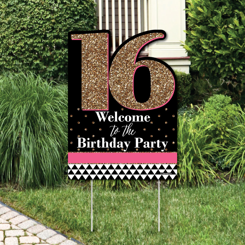 Chic 16th Birthday - Pink, Black and Gold - Party Decorations - Birthday Party Welcome Yard Sign