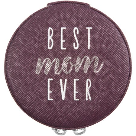 Pavilion - Best Mom Ever - Purple Zippered Jewelry Case 3.5