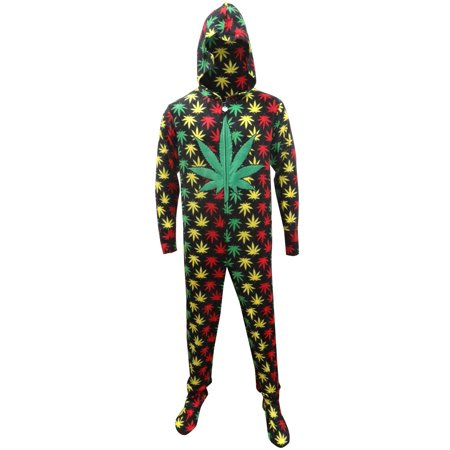 Rasta Ganja Weed Leaf Footie One Piece Pajamas with Hood (Adult Dog Onesie)