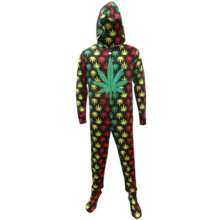 Rasta Ganja Weed Leaf Footie Onesie Pajamas with Hood