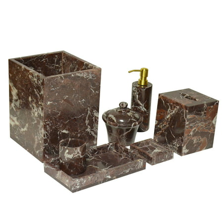 Polished Marble 7 Piece Bath Set Red Zebra Shower And Bathroom Accessory