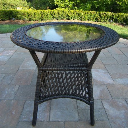 Oakland Living Elite All-Weather Wicker Round Coffee Table Elite Products Coffee Table