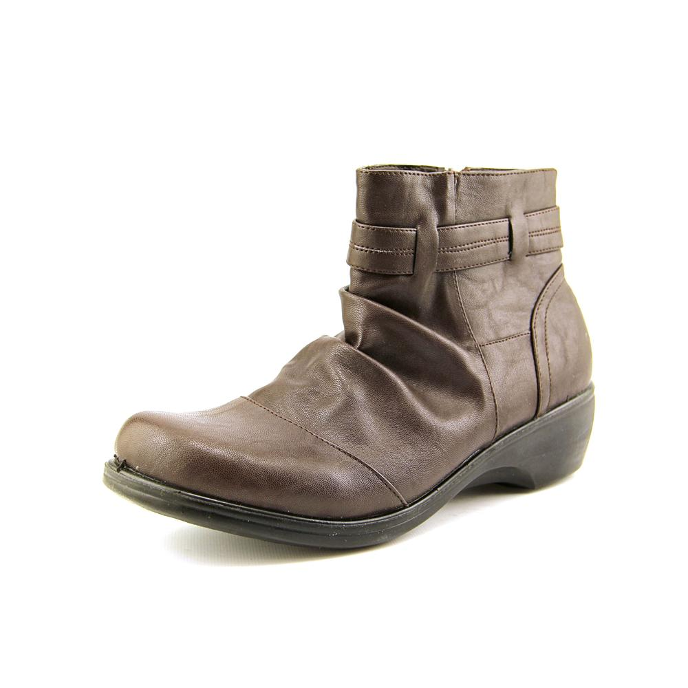 Easy Street Bootz Women Round Toe Leather Brown Ankle Boot by Easy Street