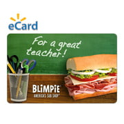Blimpie $15 Thank You Teacher Gift Card (Email Delivery)