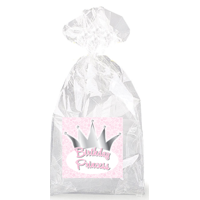 Birthday Princess with Crown  Party Favor Bags with Ties - 12pack