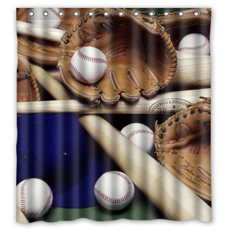 Mohome Baseball Life Photo Of Glove Bat And Shower Curtain Waterproof Polyester Fabric Size 66x72 Inches