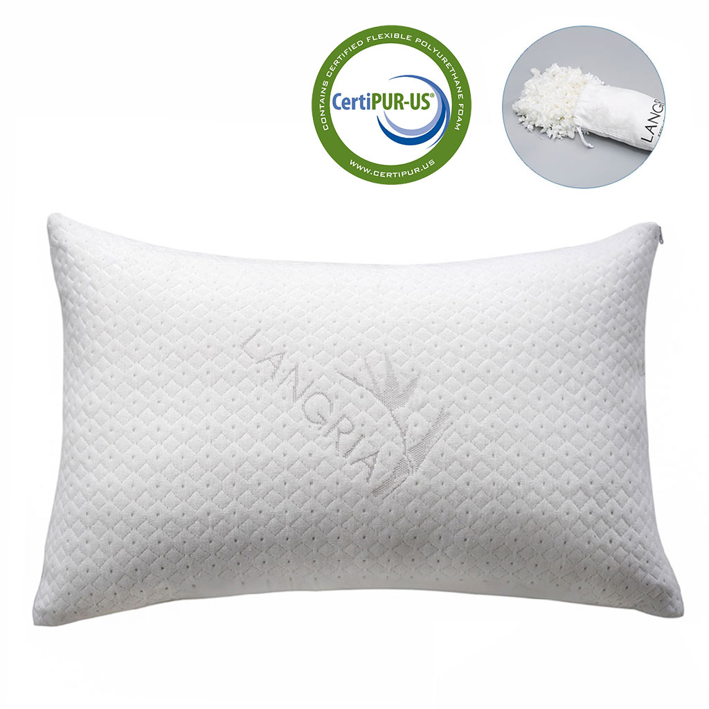 LANGRIA Luxury Bamboo Shredded Memory Foam Bed Pillow with Adjustable Thickness and Firmness for Comfort, Breathable Hypoallergenic Washable Cover, CertiPUR-US Approve