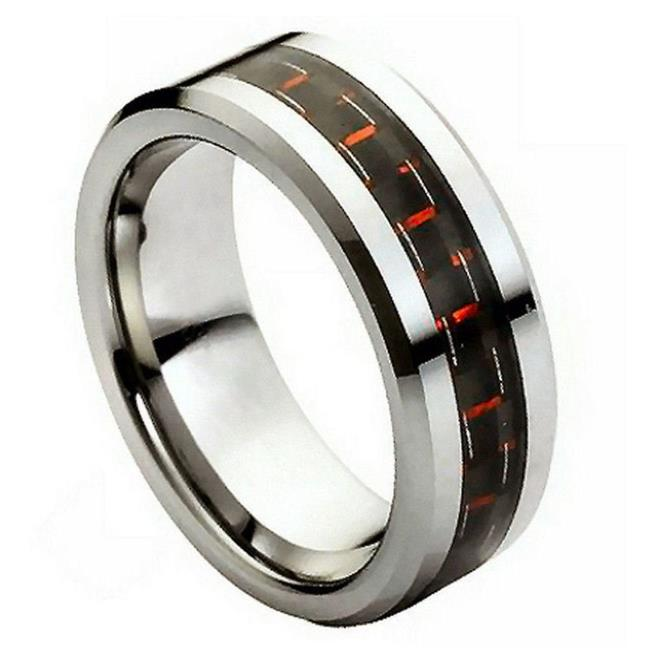 TK Rings 205TR-8mmx5.0 8 mm Black & Red Carbon Fiber Inlay Tungsten Ring - Size 5 - image 1 de 1