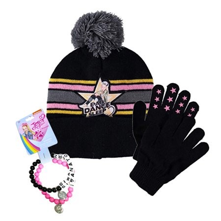 30a51e5d702 JoJo Siwa Girls Winter Hat Beanie Mittens Gloves 2 Piece Set with 2pcs  Bracelets - Walmart.com