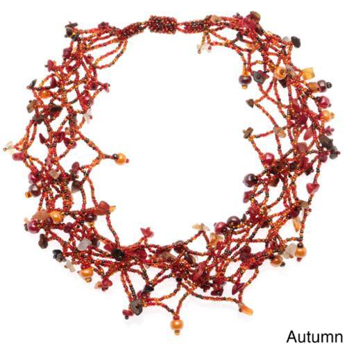 Beaded Maria Magnetic Necklace (Guatemala) Autumn